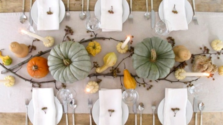 personable-diningroom-ating-ideas-white-table-skirting-and-pumpkins-centerpieces-white-plates-and-white-napkins-clear-glasses-and-spoons-also-forks-di