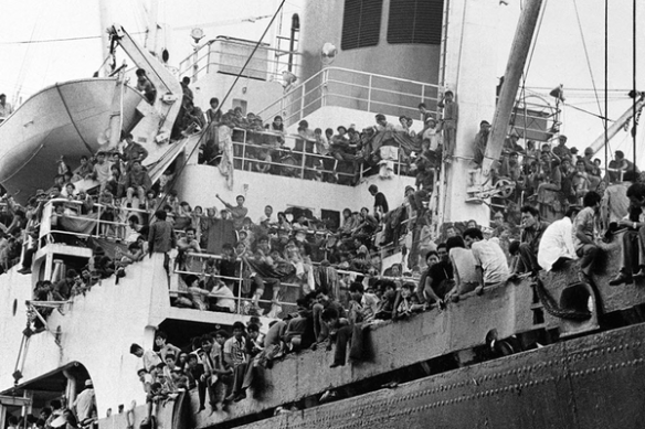 The First Wave of Vietnamese Were Evacuated by the US Military in Seaworthy Vessels.