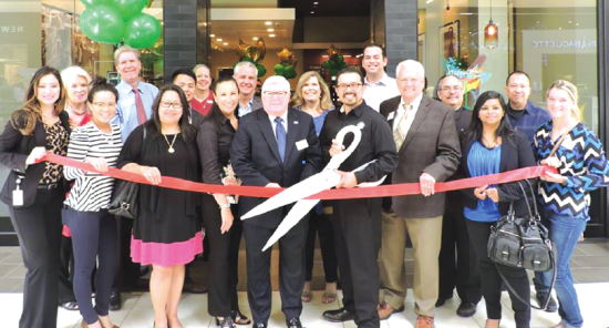 Mayor George Ray and Councilmember Edwards was on hand to help Store Manager Matt (right of Edwards) and District Manager Sharon (left) to cut the ribbon — at Los Cerritos Center. Photos courtesy of Cerritos Regional Chamber of Commerce.