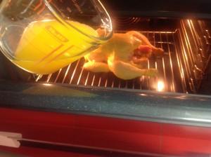 pollo asado con zumo de naranja