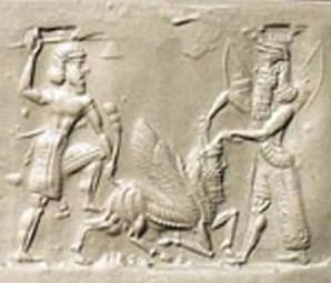 Gilgamesh y Enkidu apuntillando al toro