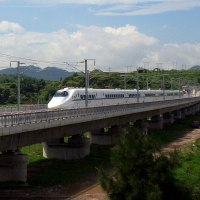 China Railways CRH Passing through Lianjiang county, Fujian province, China. Photo by spamlian.