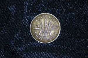 Silver Australian Three-Pence, Dated 1950