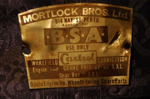 Mortlock Bros LTD BSA Metal Plate