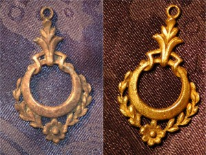Before After Cleaning - Old Gold Necklace Charm - Beach Find
