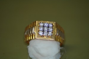 9 Diamond Mens Gold Ring