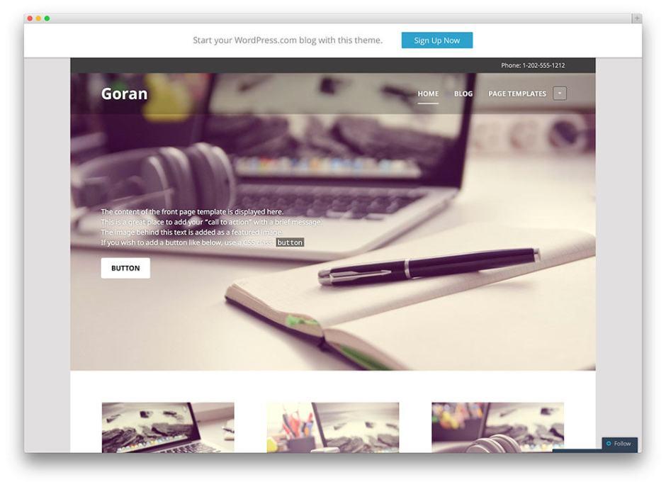 Goran Free wordpress business services theme