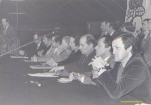Michel Rocard et François Mitterrand lors d'une réunion publique à Mantes la Jolie en 1978