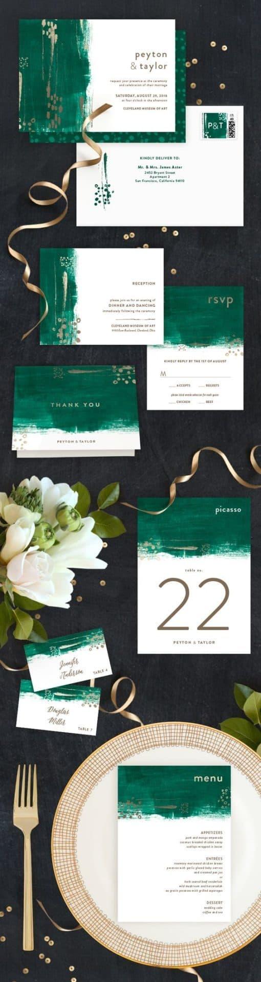 gold foil wedding invitations customizable wedding invitations Painted Canvas Customizable Foil pressed Wedding Invitation by Minted