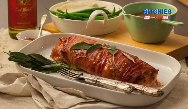 Juicy pork sage and bacon meatloaf