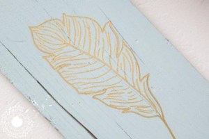 Golden Feather Wooden Sign