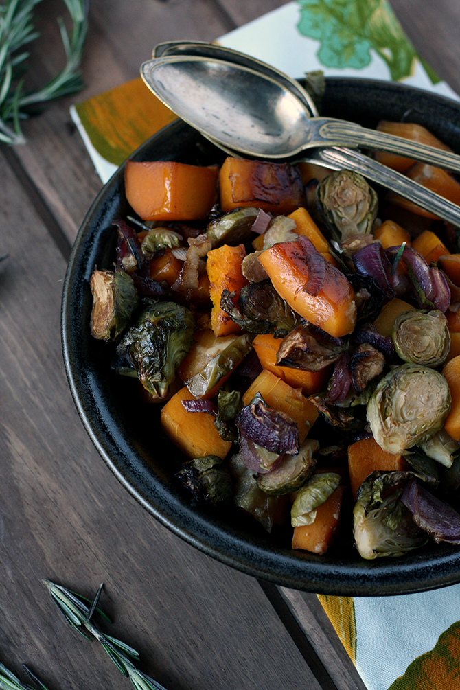 Balsamic Maple Roasted Butternut, Brussels, and Apple