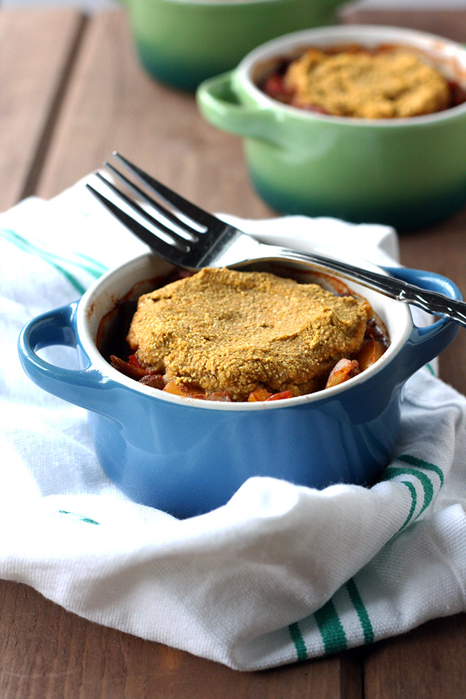 Lentil Chili Pot Pie with Pumpkin Cornbread Topping by Love Me, Feed Me - featured at Natural Family Friday