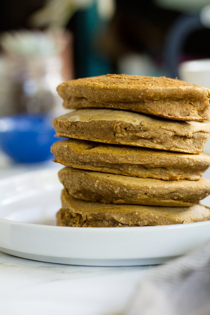 vegan sweet potato pancakes with maple cream cheese icing (gluten free) | love me, feed me
