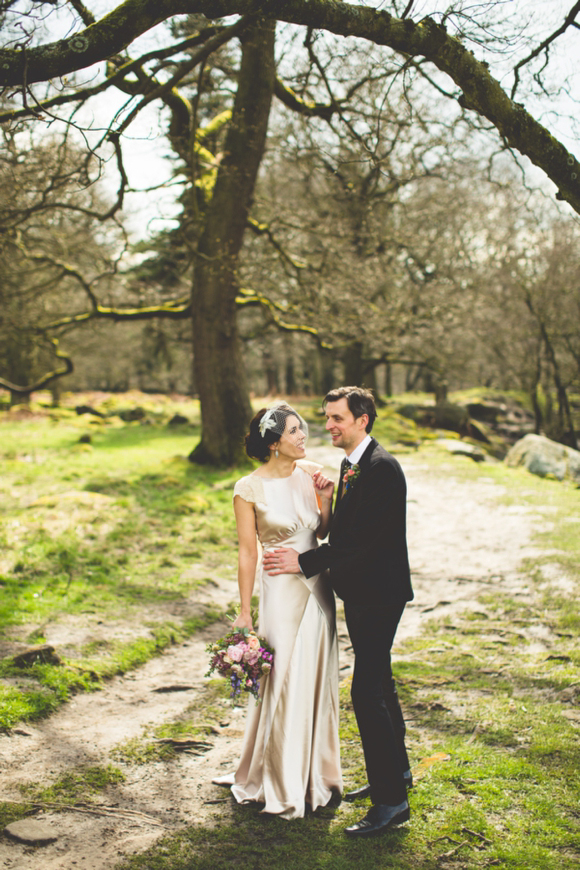 A 'First Look' And HandFasting Ceremony For A Bride Who Made Her Own Wedding Dress….