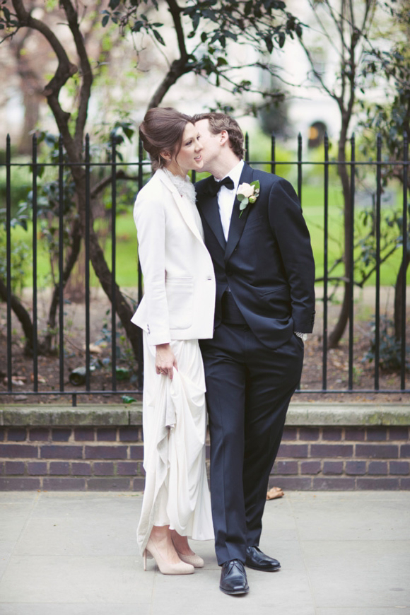 A David Fielden Dress and The Kooples Blazer for a 1920s Great Gatsby Inspired London Bride…