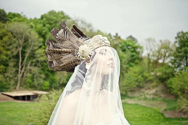 A Feather Headdress, Medieval Woodland, Vintage Gowns and Sequin Hotpants!  Eclectic, Hippy Inspired Bridal Fun