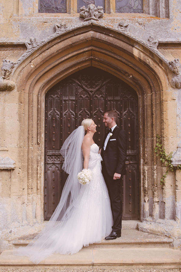 A Sparkling Monique Lhuillier Gown For An All-White, Romantic Castle Wedding