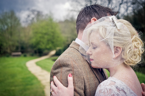 A Brass Band, Polka Dot Veil and 1950s Vintage Wedding Dress
