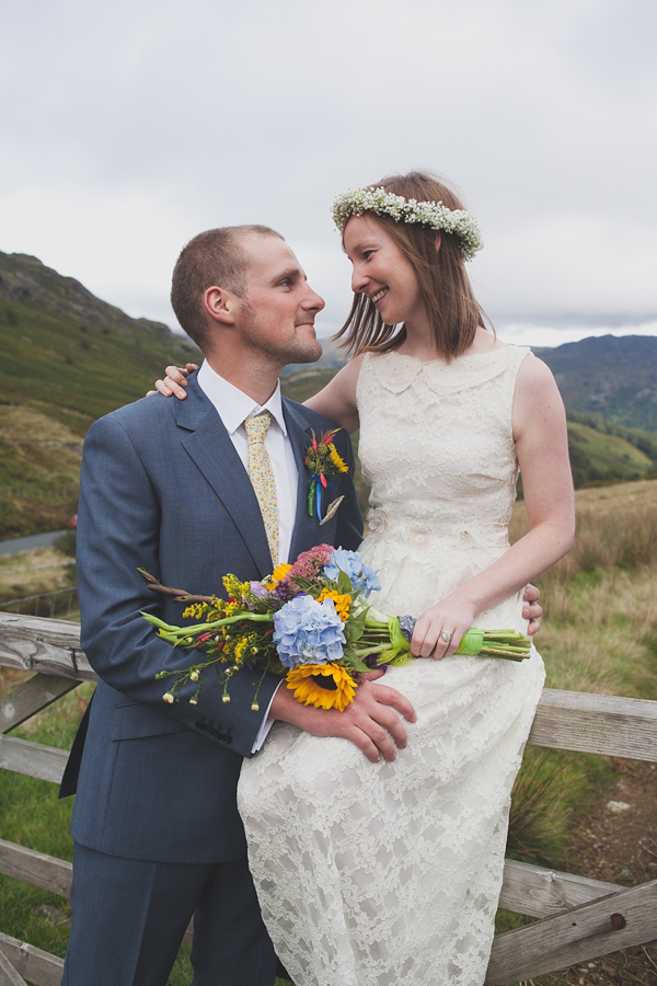 A Sweet Gypsophila Flower Crown And Dress By Minna For A Charming Lake District Wedding