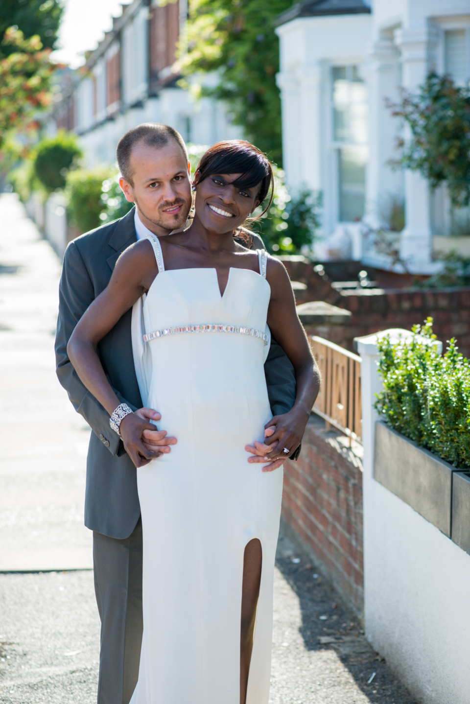 A Glamorous, Backless Wedding Dress for a Relaxed Stay At Home Wedding