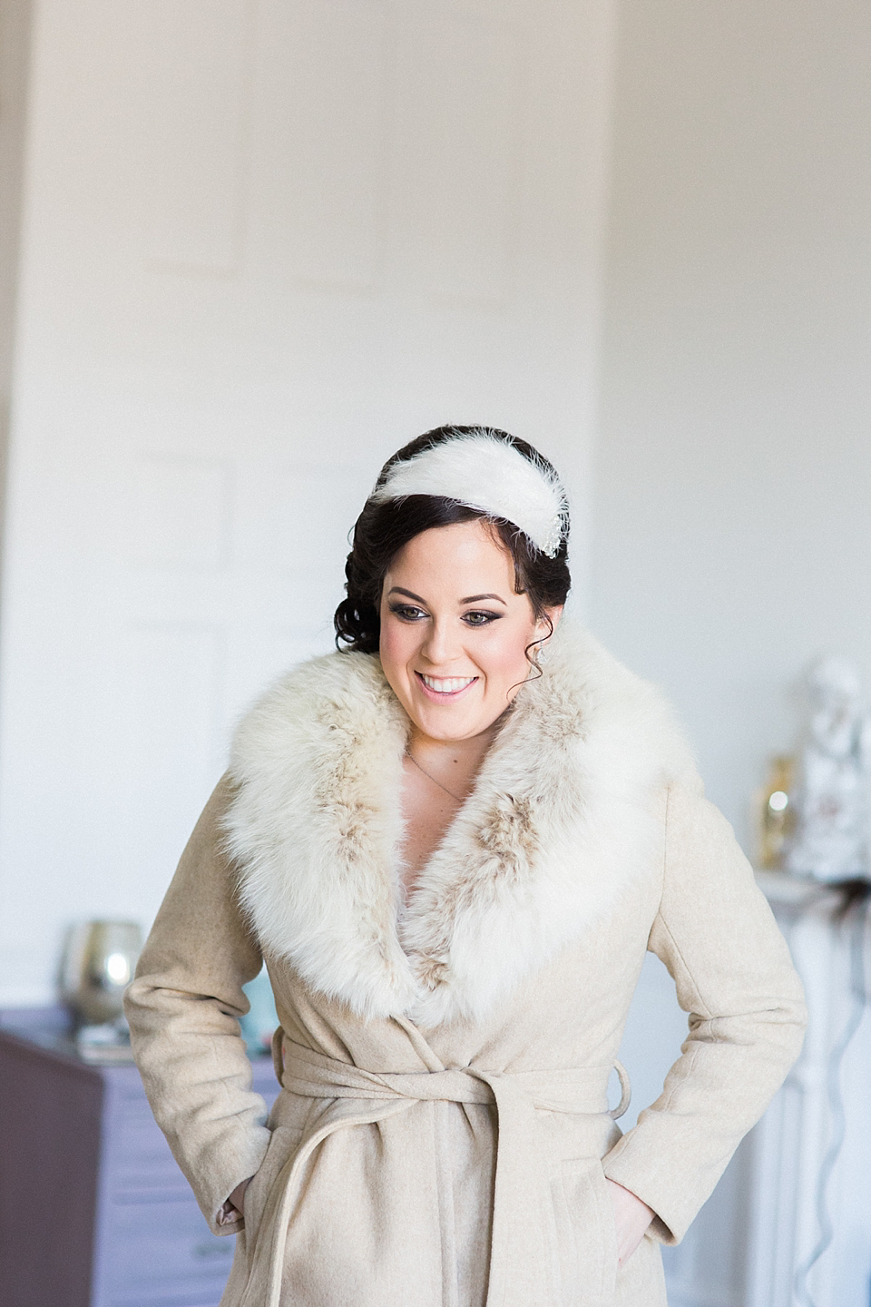 A Phase Eight Gown And 70's Vintage Coat For A Roman Baths Wedding In Winter