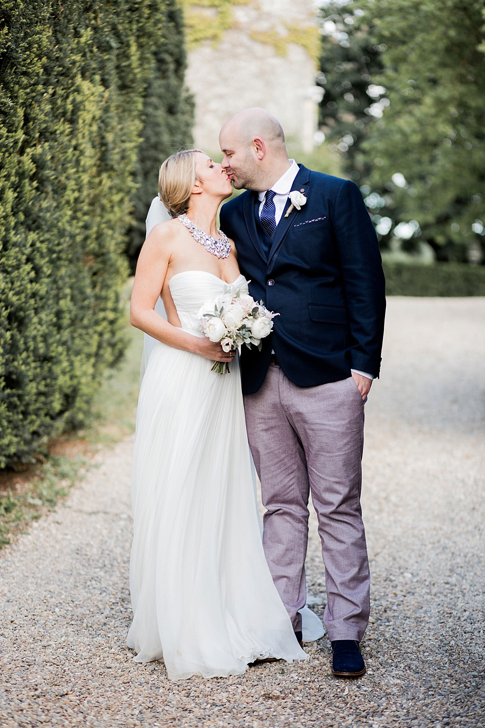 A Maria Hohan Dress and Blush Pink Maids for a Relaxed and Elegant Outdoor Wedding in France