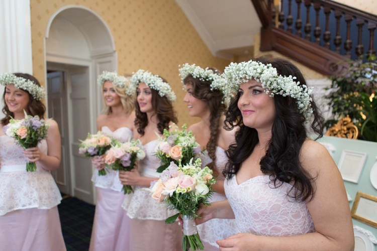 a pretty pastel flower crown and touch of 50 u0026 39 s elegance