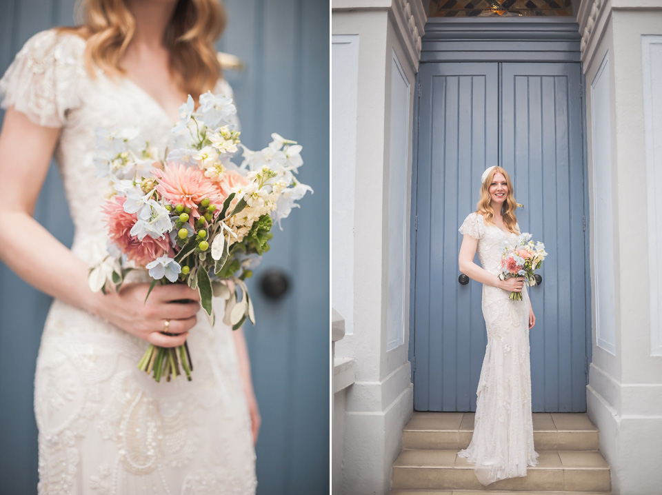 A Delicately Beaded Eliza Jane Howell gown for a 1930s inspired CamdenTown Hall Wedding (Weddings )