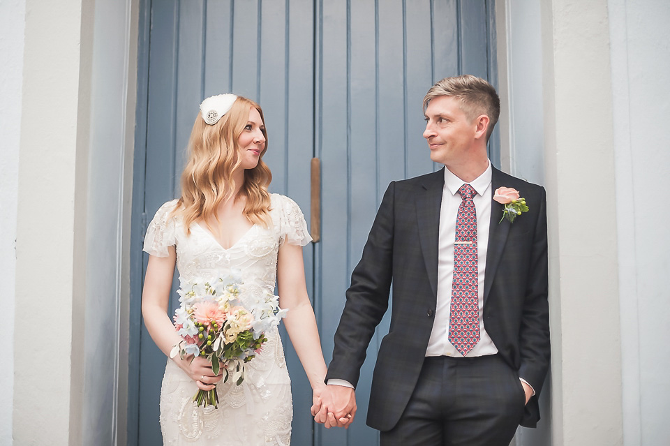 A Delicately Beaded Eliza Jane Howell gown for a 1930s inspired CamdenTown Hall Wedding