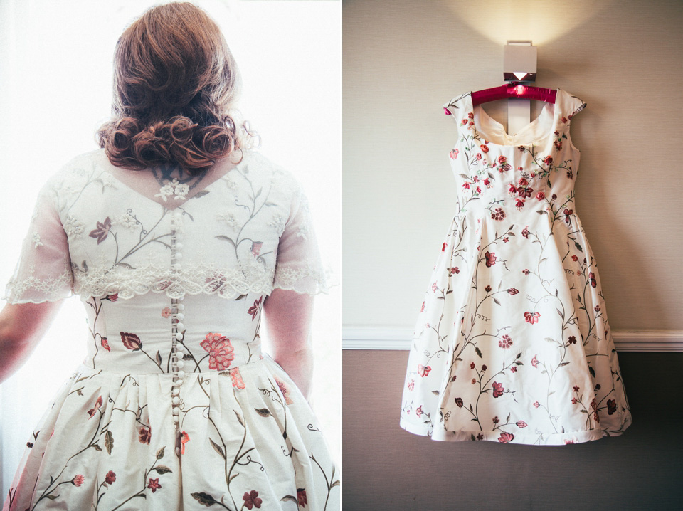 A 50's, Floral Style Wedding Dress for a Retro Inspired, Memorial Hall Wedding (Weddings )