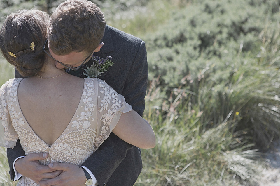 A Beautifully Embellished Eliza Jane Howell Dress for a Homemade and Humanist Scottish Beach Wedding