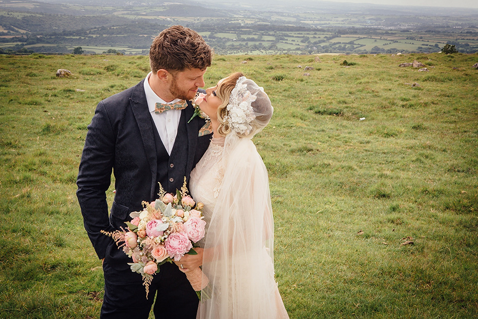 A YolanCris Gown and Skull Cap Veil for a Pregnant Bride and Her Village Hall Wedding