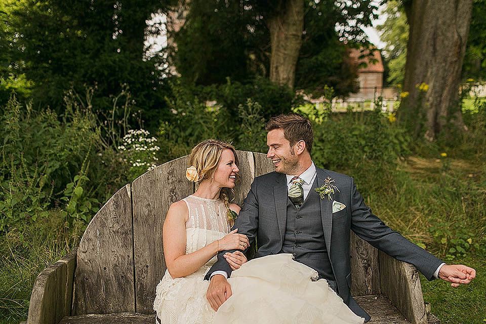 A Halterneck YolanCris Gown for a Wildflower and Botanical Inspired, English Country Garden Wedding