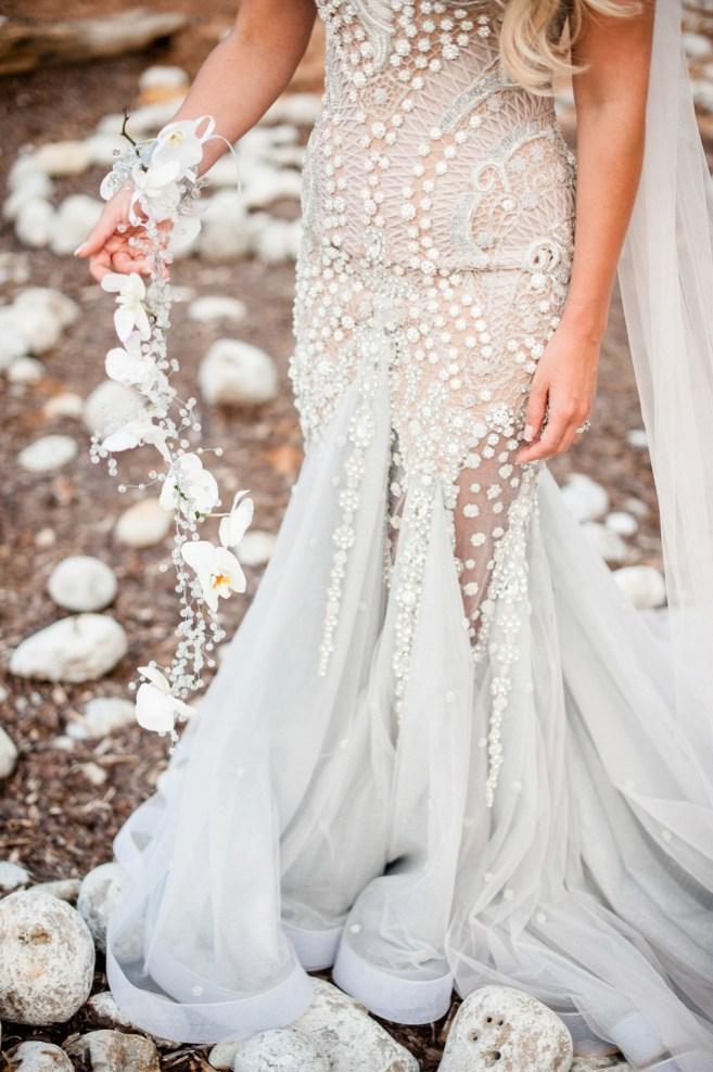 A Mermaid Inspired Wedding Dress For An Island Wedding By The Sea