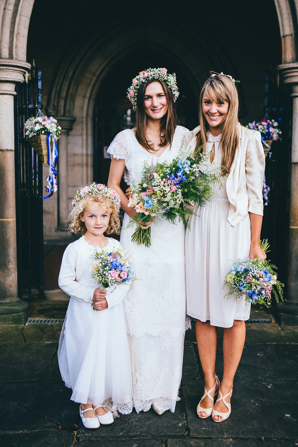 An Edwardian Inspired Gown and Floral Crown for a Relaxed City Wedding (Weddings )