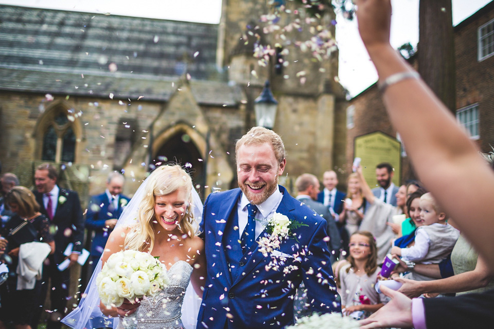 A Beaded Top and Blue Shoes for a Glamorous Village Green Wedding (Weddings )