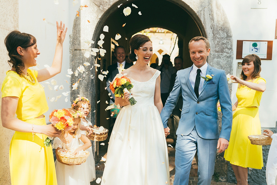 A Colourful Sorrento Wedding with a 60's Inspired Oleg Cassini Gown