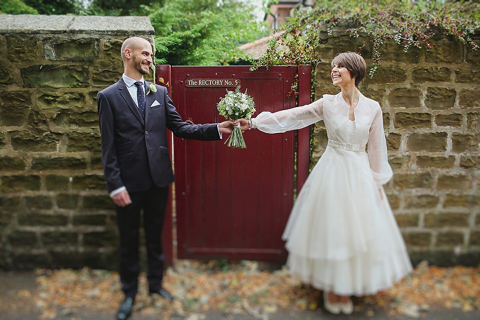 A 'Polka Dot Daisy' Dress and First Look, for an Industrial City Style Wedding