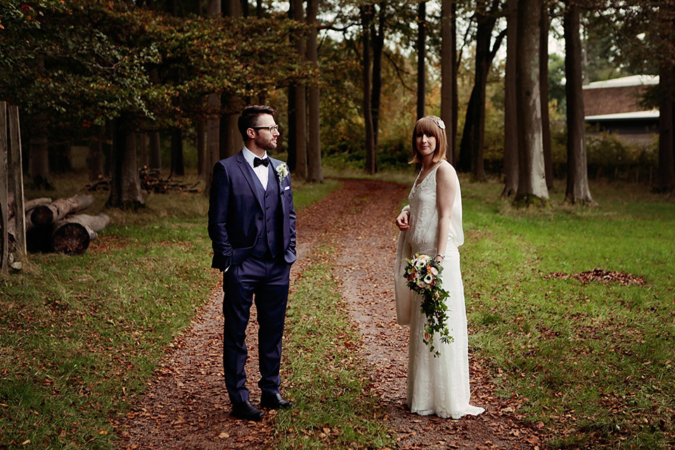 An Elegant 1920s inspired Charlie Brear Gown for an Autumn Wedding in Wales