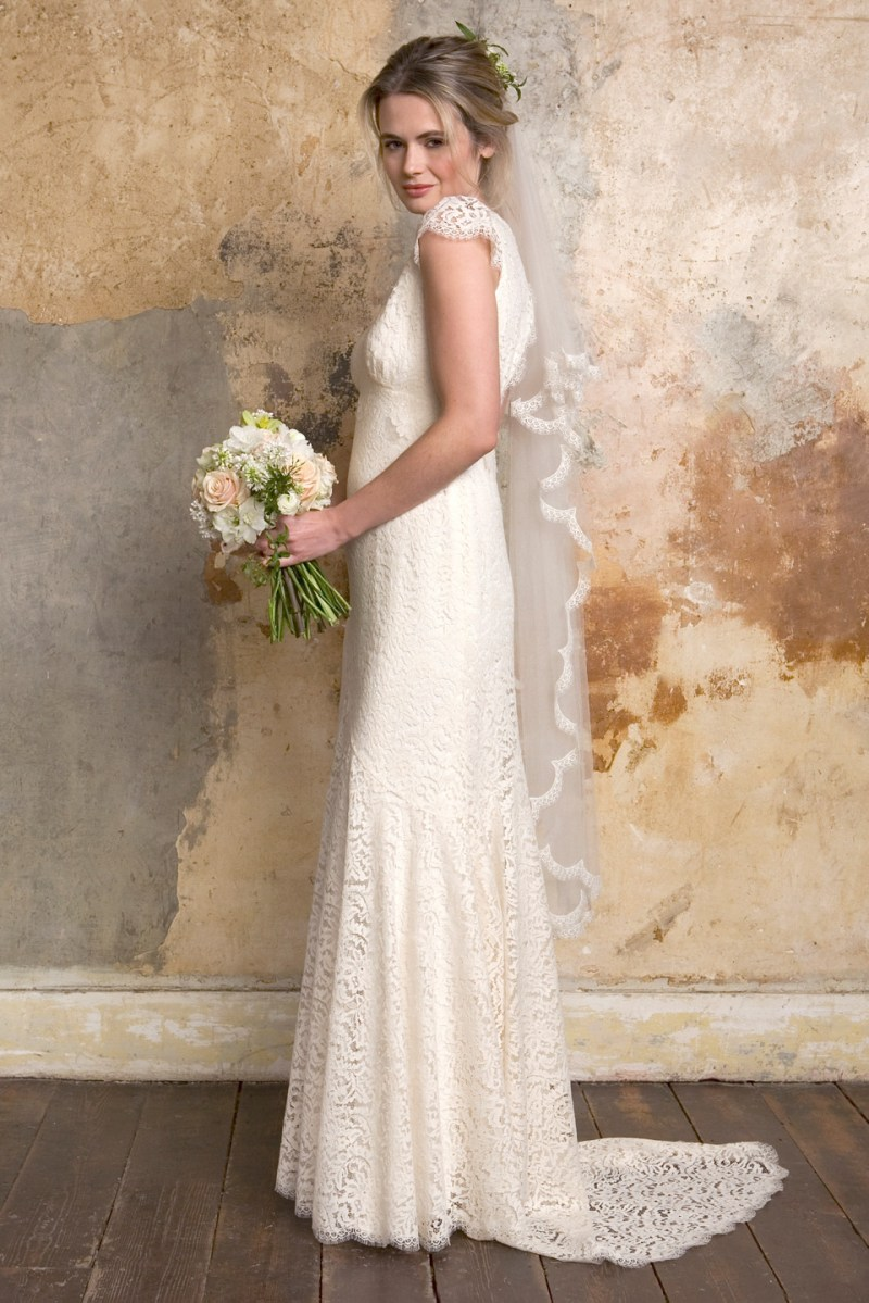Sally lacock bridal exquisite and romantic vintage style for Modern vintage lace wedding dress