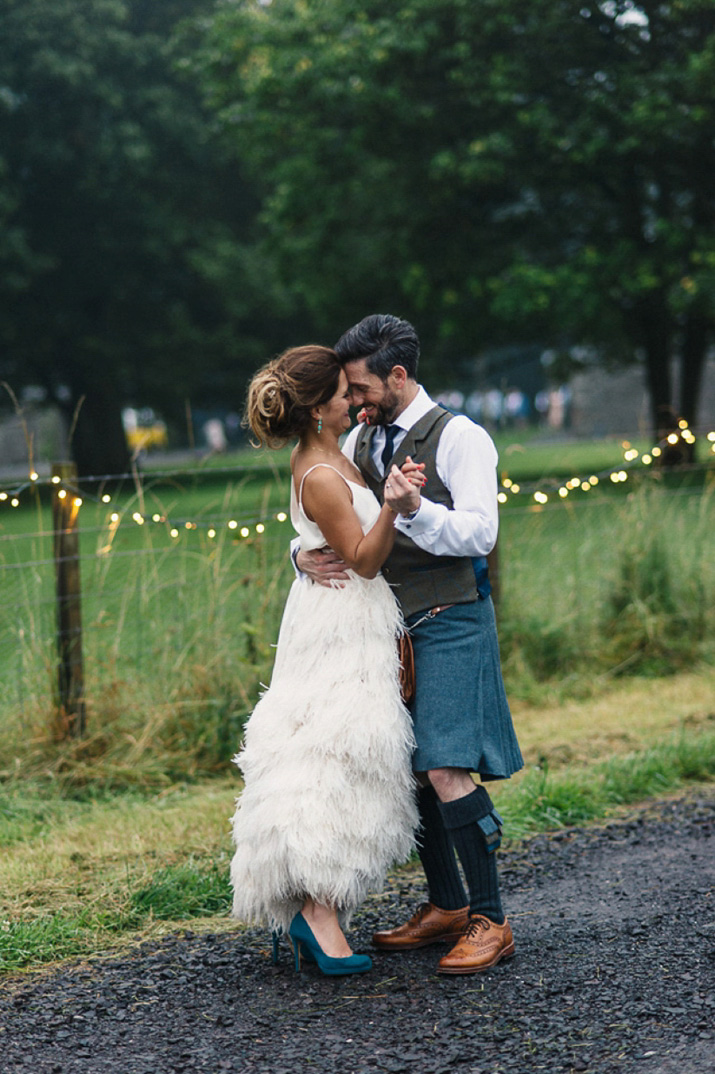 An Ostrich Feather Skirt and Vintage Lampshades for a Quirky Scottish Barn Wedding