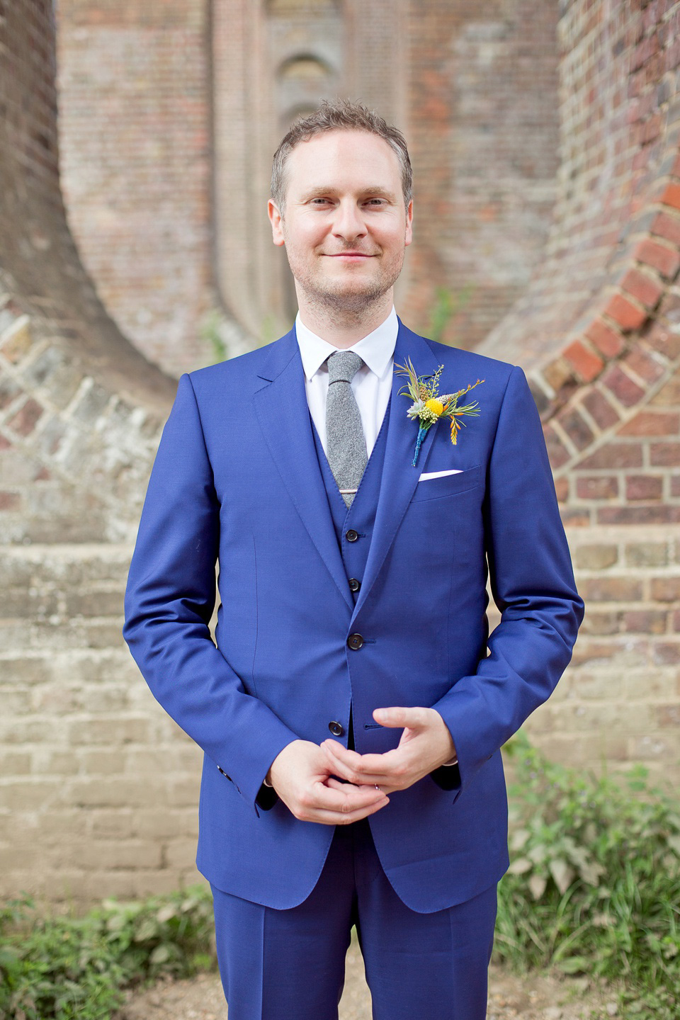A Railway Museum Wedding with an Elegant Handmade Lace Gown and Maids in Navy Blue (Weddings )