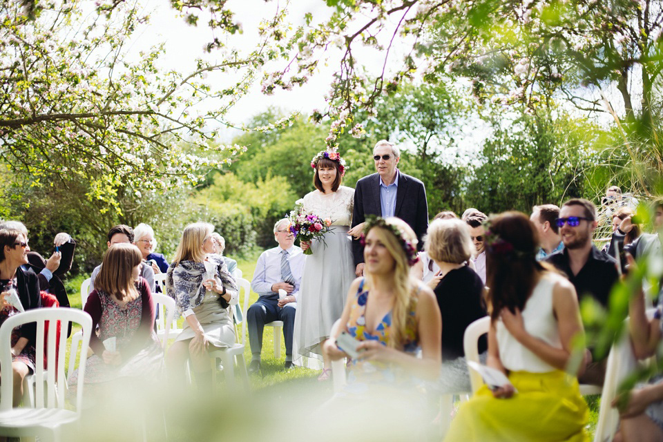 A Silver Skirt and Pretty Floral Crown For A Spring Garden Wedding (Weddings )
