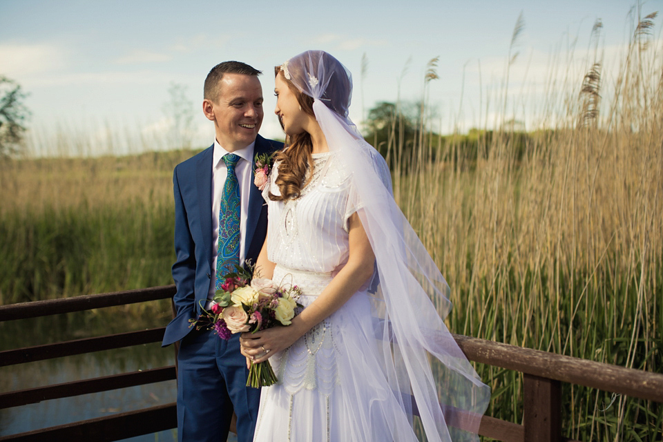 Vicky Rowe 1920's Inspired Wedding Dress Glamour and a Juliet Cap Veil