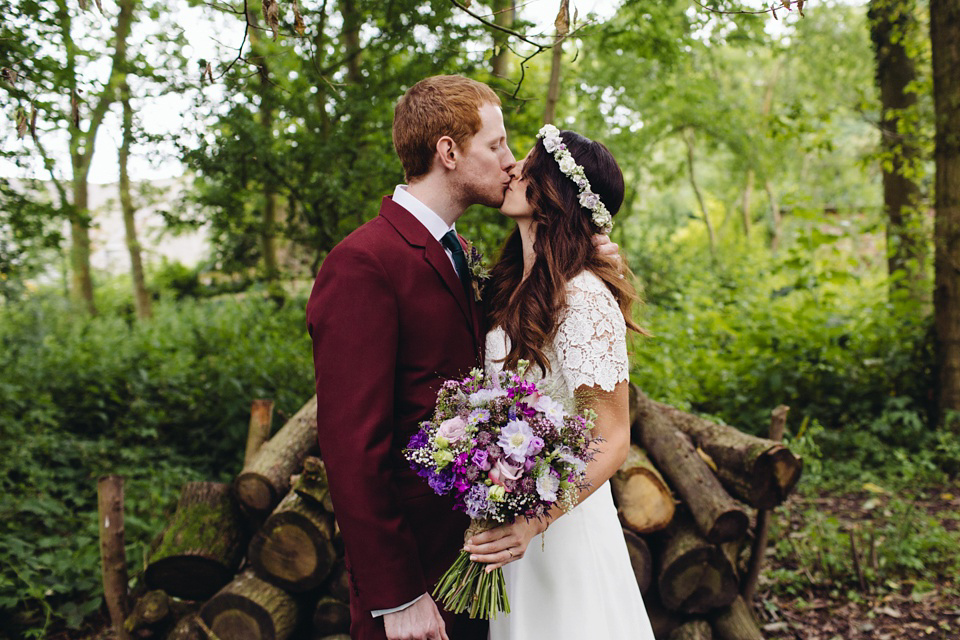 A 1970's Vintage Dress and a Floral Crown for a Book Inspired Farm Wedding