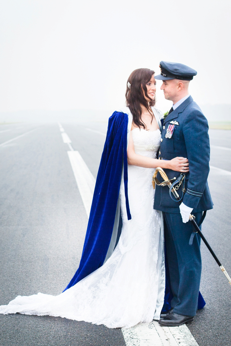A Blue Hooded Cape for a Winter Military Wedding at York Minster