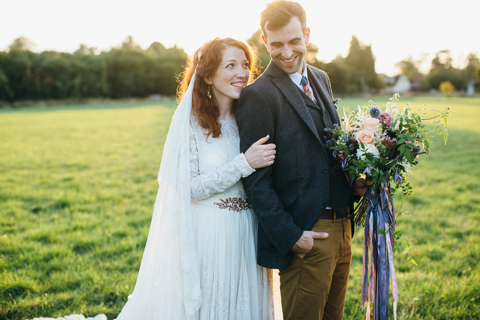 An Edwardian Inspired Gown and Veil for a Charming Homespun Pub Wedding