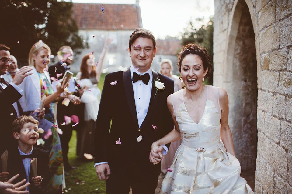 A Gold Wedding Dress for a Black Tie Roman Baths Celebration