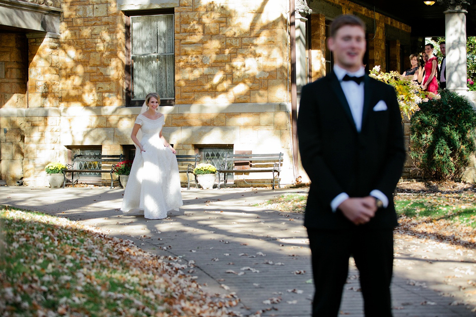 A Sweet First Look and a 1950s Heirloom Wedding Dress (Weddings )